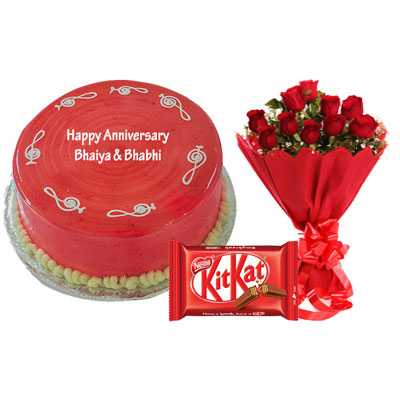 Strawberry Cake, Bouquet & Kitkat