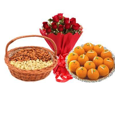 Almonds, Cashew, Laddu & Bouquet