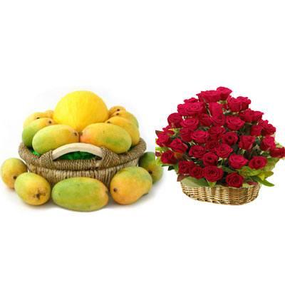 Mango Basket with Red Rose Basket