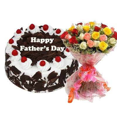Fathers Day Black Forest Cake & Bouquet