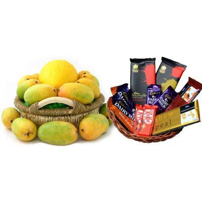 Mango Basket & Indian Chocolates Basket