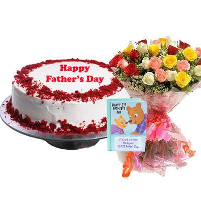 Fathers Day Red Velvet Cake, Bouquet & Card