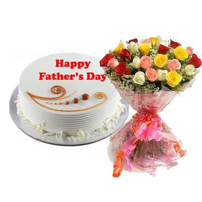 Fathers Day Vanilla Cake & Bouquet