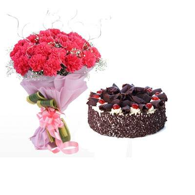 Pink Carnation & Black Forest Cake