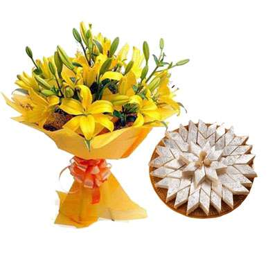 Yellow Lily & Kaju Burfi