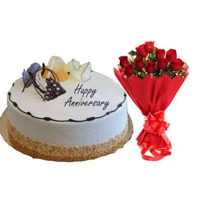 Happy Anniversary Vanilla Cream Cake & Bouquet