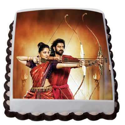 Bahubali and Devasena Photo Cake