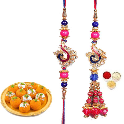 Lumba Rakhi For Brother Bhabhi With Laddu