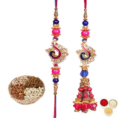 Lumba Rakhi For Brother Bhabhi With Mix Dry Fruits