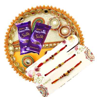 3 Rakhi with Thali & Silk Chocolates