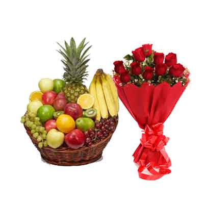 Mix Fruits Basket With Rose Bouquet