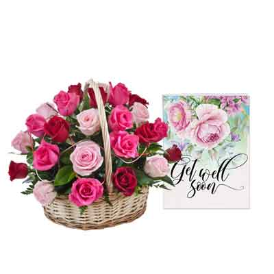 Mix Rose Basket With Card