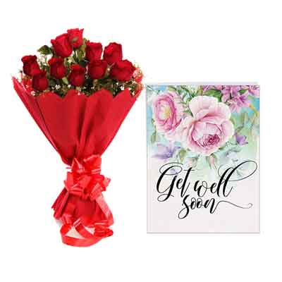 Red Rose Bouquet With Card