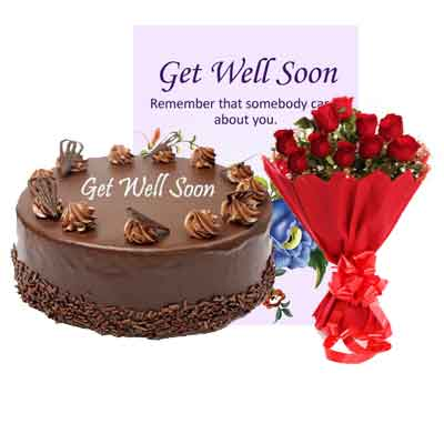 Get Well Soon Chocolate Cake With Bouquet & Card