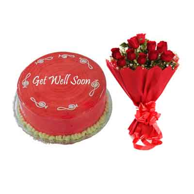 Get Well Soon Strawberry Cake With Bouquet