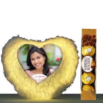 LED Heart Shape Cushion With Ferrero