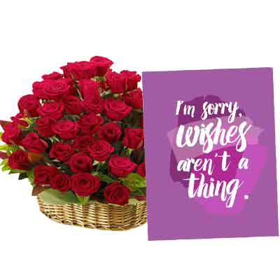 Rose Basket With Sorry Card