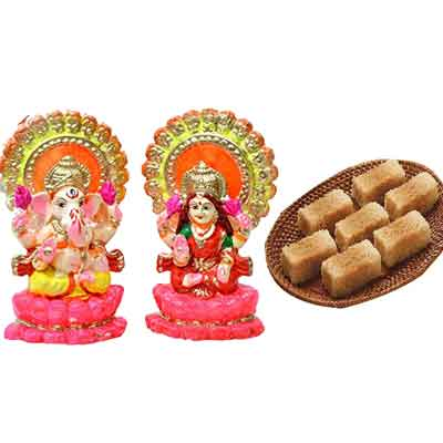 Milk Cake with Laxmi Ganesh Idols
