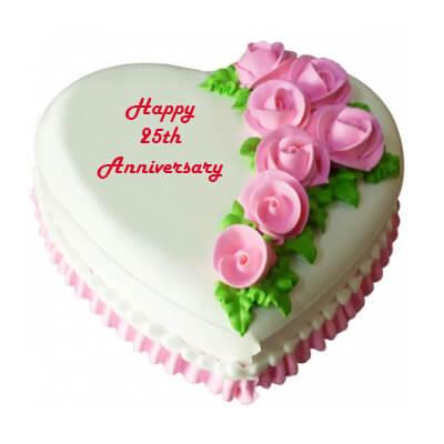 25th Anniversary Heart Shape Vanilla Cake