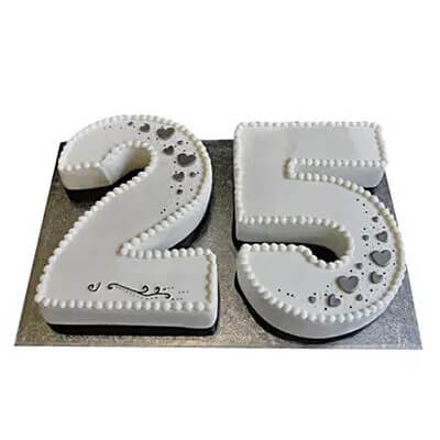 25th Number Fondant Chocolate Cake