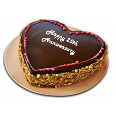 Silver Jubilee Anniversary Chocolate Butterscotch Cake
