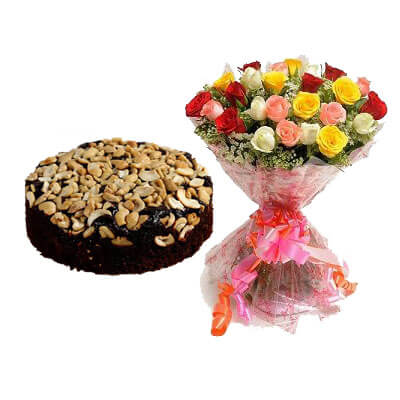 Special Christmas Plum Cake with Mix Bouquet