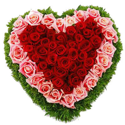 Red & Pink Roses Heart Shape Arrangement