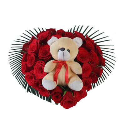 Red Roses Heart Shape Arrangement with Teddy