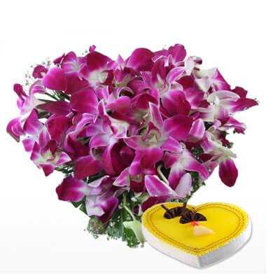 Purple Orchid Heart Shape Arrangement