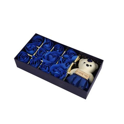 Blue Roses with Teddy Bear Box
