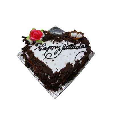 Eggless Happy Birthday Black Forest Heart Cake