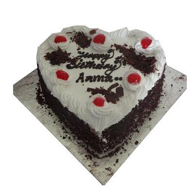Happy Birthday Black Forest Heart Shape Cake