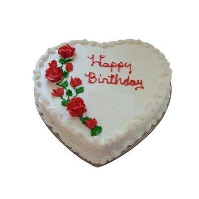 Happy Birthday Heart Shape Strawberry Cake
