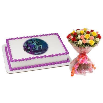 Pineapple Aquarius Cake with Mix Roses