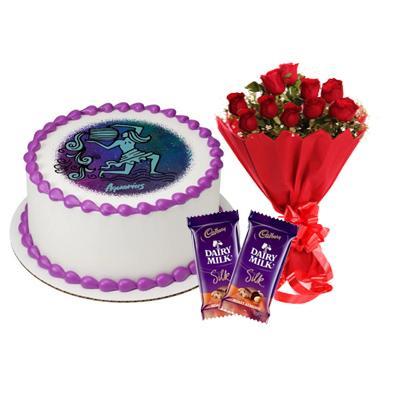 Pineapple Aquarius Round Cake, Roses & Silk