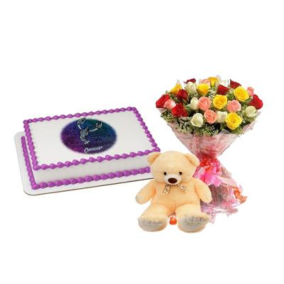 Cake, Flowers & Teddy For Cancer Zodiac Sign