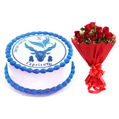 Vanilla Capricorn Cake & Red Roses