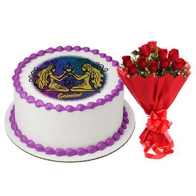 Pineapple Gemini Round Cake & Roses