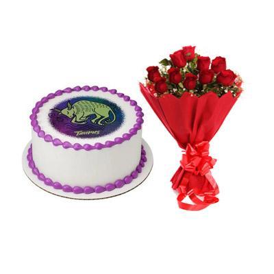 Pineapple Taurus Round Cake & Roses