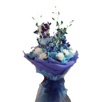 Purple Orchid & White Rose Bouquet