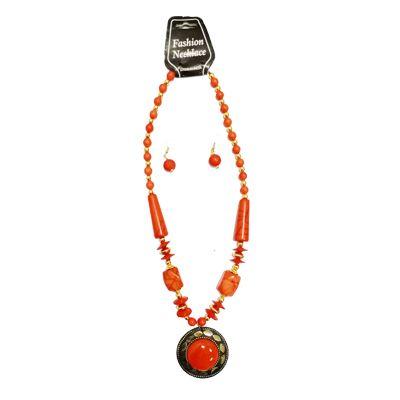 Orange Big Pearl Necklace