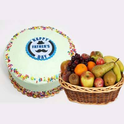 Delicious Fathers Day Vanilla Cake with Fruits Basket