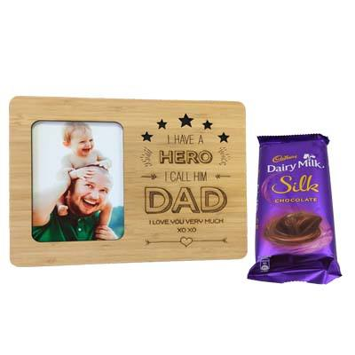 Engraved Wooden Photo Frame for Dad with Silk