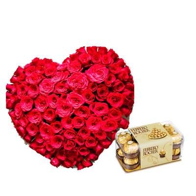Exclusive Heart Shape Bouquet with Ferrero