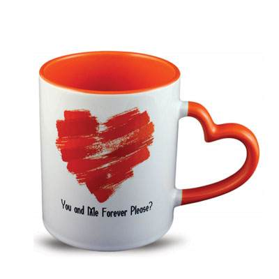 Heart Shaped Handle Red Text Mug