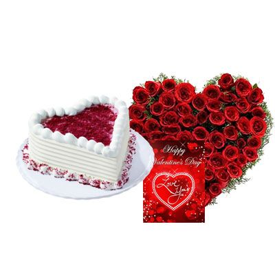 Heart Red Velvet Cake with Heart Bouquet & Card