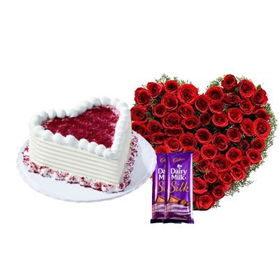 Heart Red Velvet Cake with Heart Bouquet & Silk