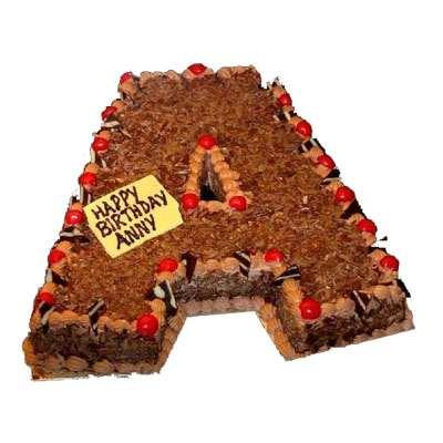 A Shape Black Forest Cake