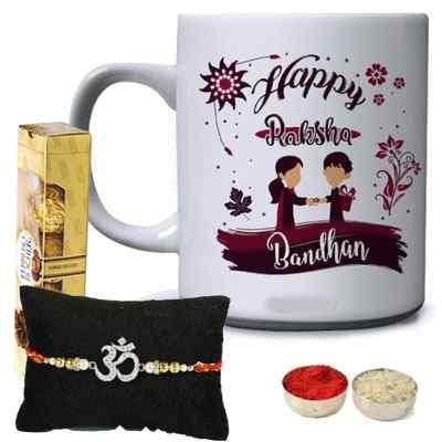 Om rakhi with Mug & Ferrero