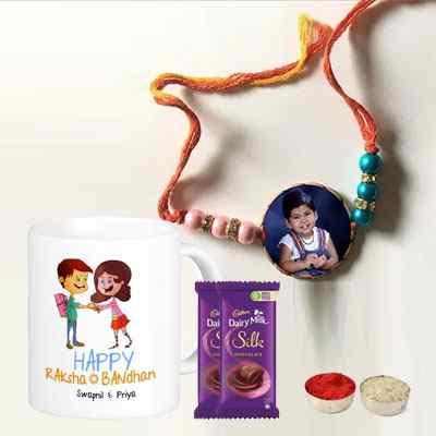 Personalized Rakhi with Mug & Silk